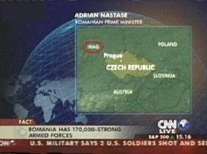 CNN news mistake showing Iraq next to The Czech Republic.
